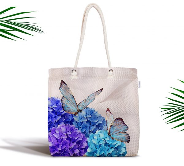 Kelebek Dünyası Dijital Baskılı Fermuarlı Modern Kumaş Çanta Realhomes