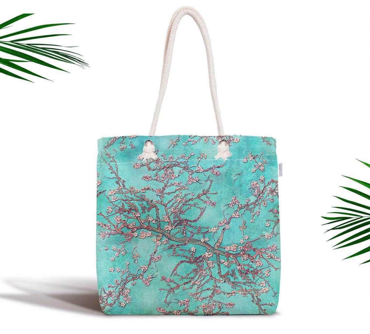 Yağlı Boya Yeşil Ağaç Motifleri Dijital Baskılı Fermuarlı Kumaş Çanta Realhomes