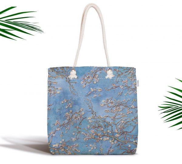 Yağlı Boya Mavi Ağaç Motifleri Dijital Baskılı Fermuarlı Kumaş Çanta Realhomes