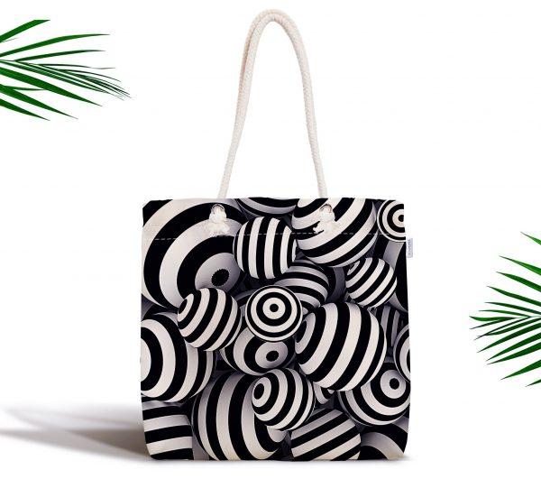 Siyah Beyaz 3 Boyutlu Küreler Dijital Baskılı Fermuarlı Kumaş Çanta Realhomes
