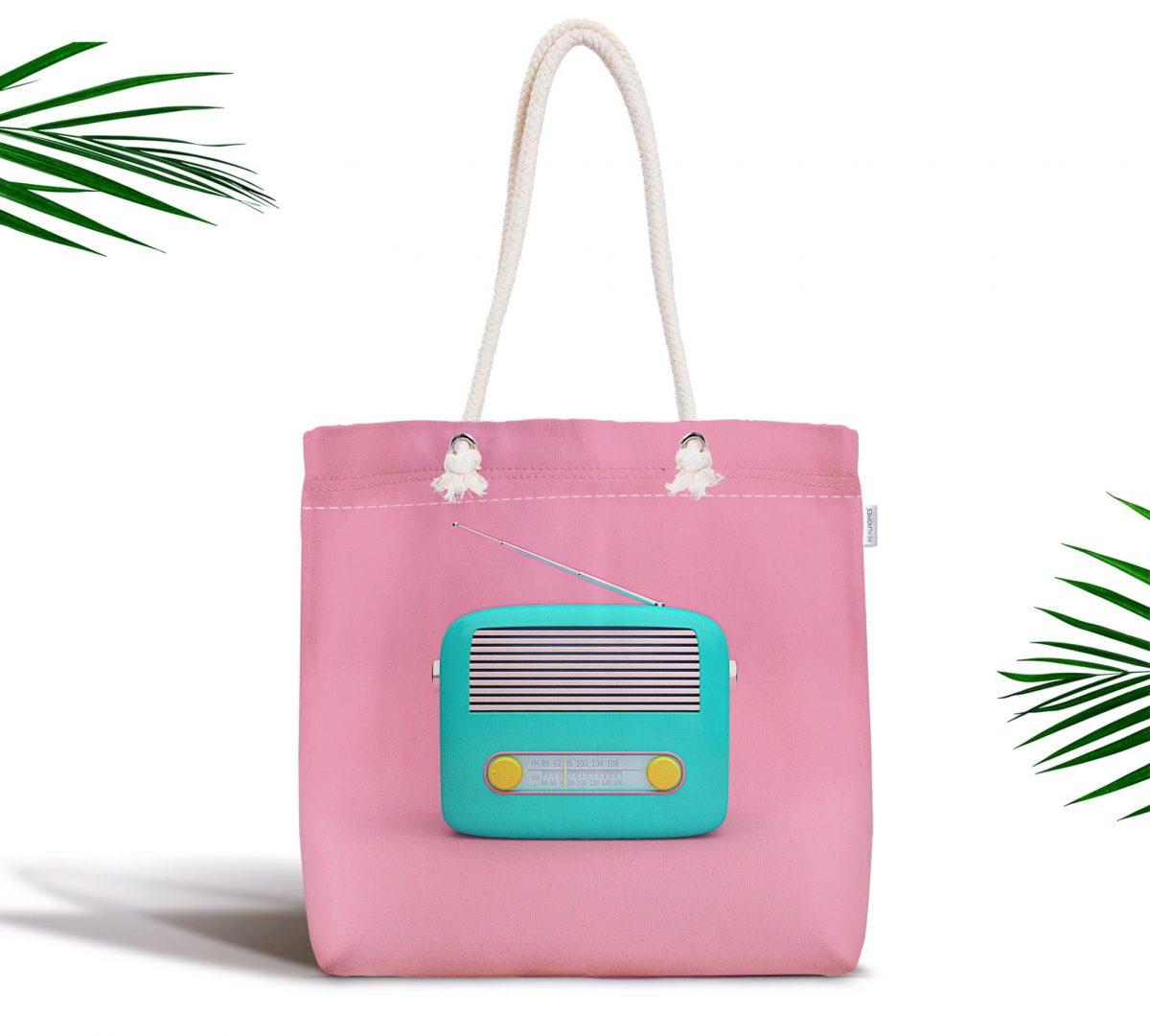 Nostaljik Radyo Temalı Dijital Baskılı Fermuarlı Kumaş Çanta Realhomes