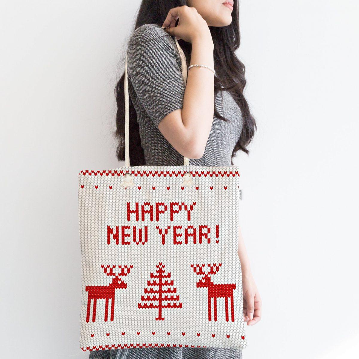 Happy New Year Temalı Dijital Baskılı Fermuarlı Modern Kumaş Çanta Realhomes