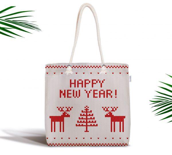 Merry Christmas Kanaviçe Görünümlü Geyikler Baskılı Fermuarlı Kumaş Çanta Realhomes