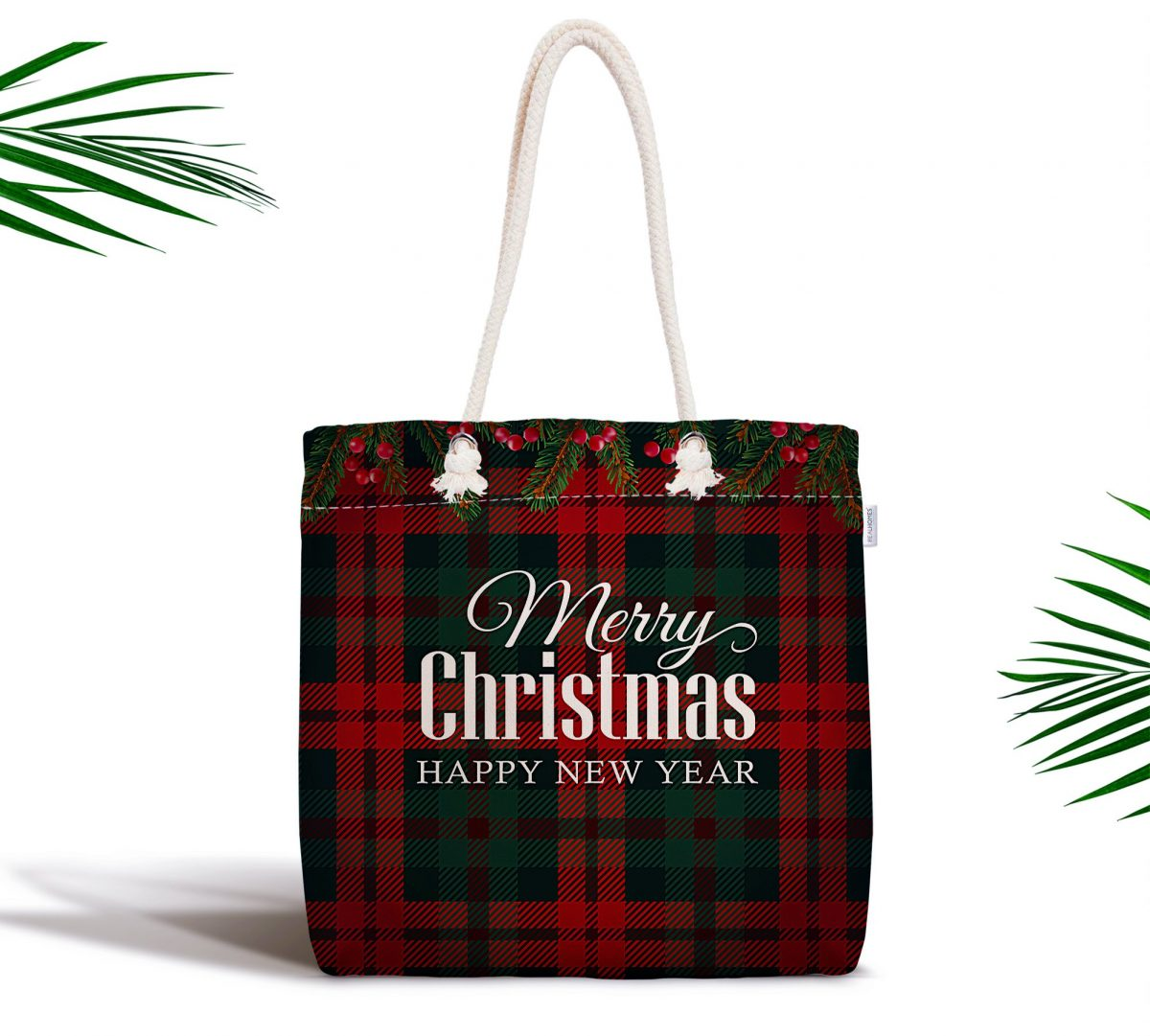 Ekose Zeminde Merry Christmas Baskılı Fermuarlı Modern Kumaş Çanta Realhomes