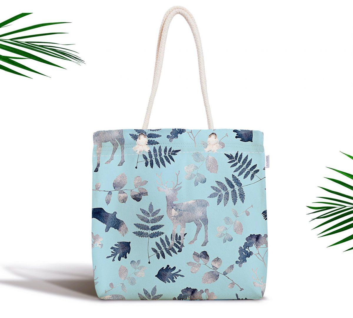 Mavi Zeminli Geyik ve Yaprak Desenli Fermuarlı Modern Kumaş Çanta Realhomes