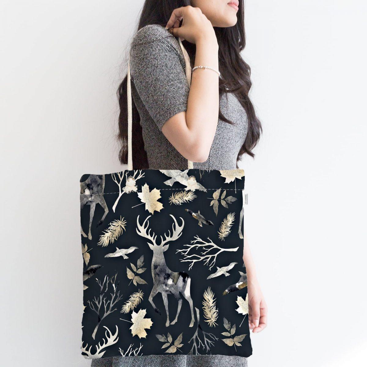 Siyah Zeminde Geyik ve Yaprak Desenli Fermuarlı Kumaş Çanta Realhomes