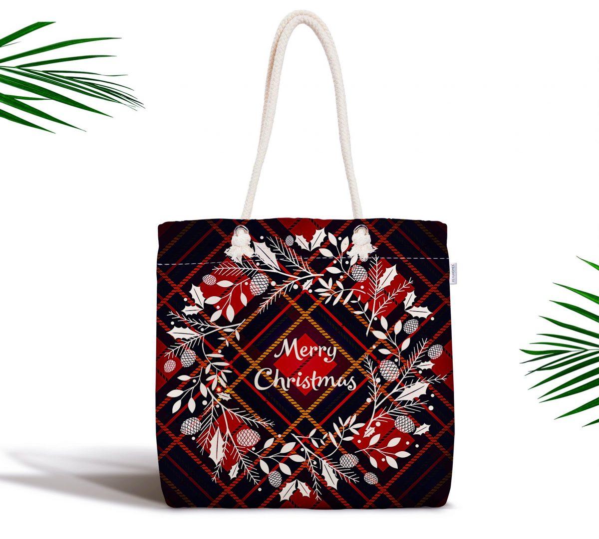 Ekose Merry Christmas Desenli Dijital Baskılı Fermuarlı Kumaş Çanta Realhomes