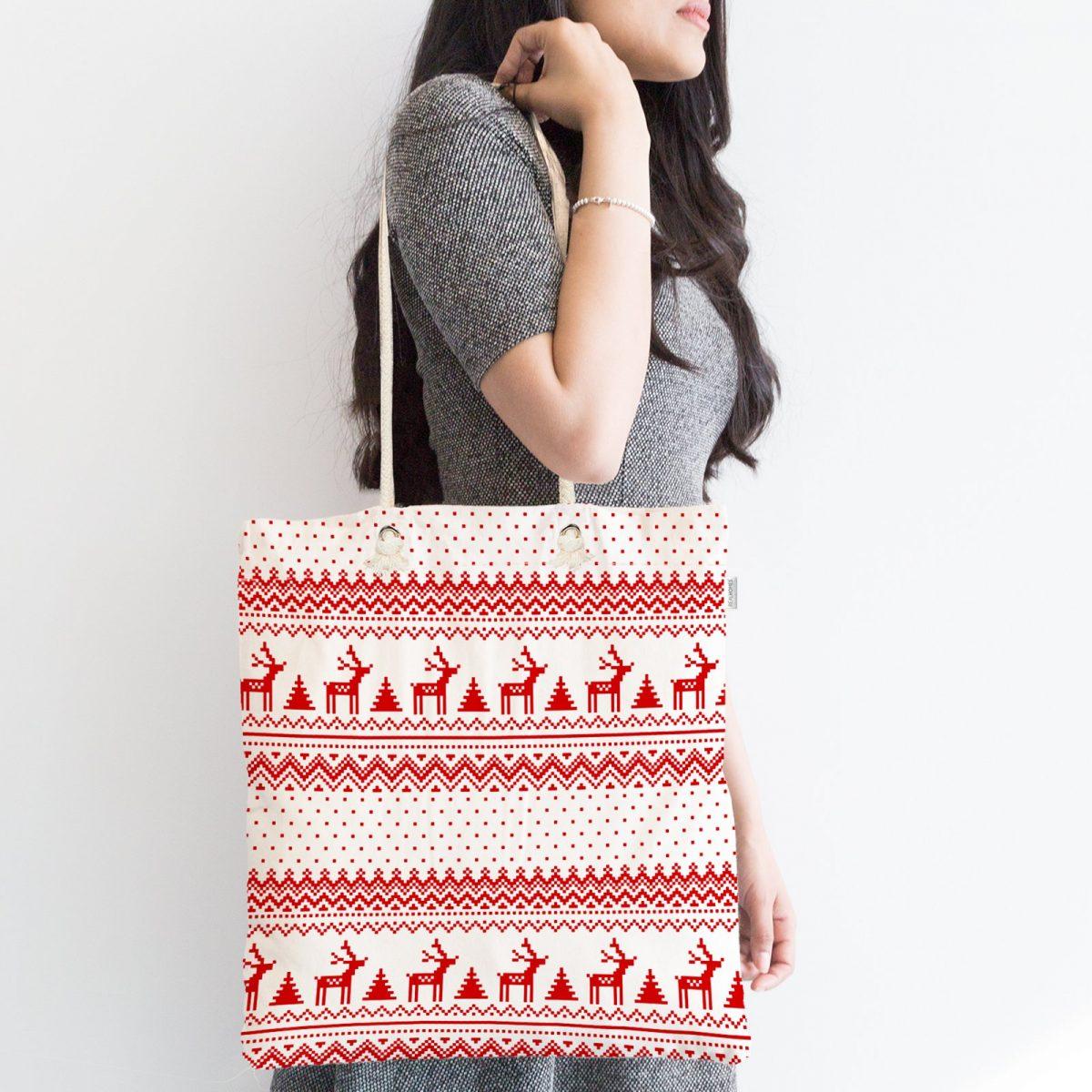 Kanaviçe Yılbaşı Temalı Özel Tasarım Fermuarlı Kumaş Çanta Realhomes