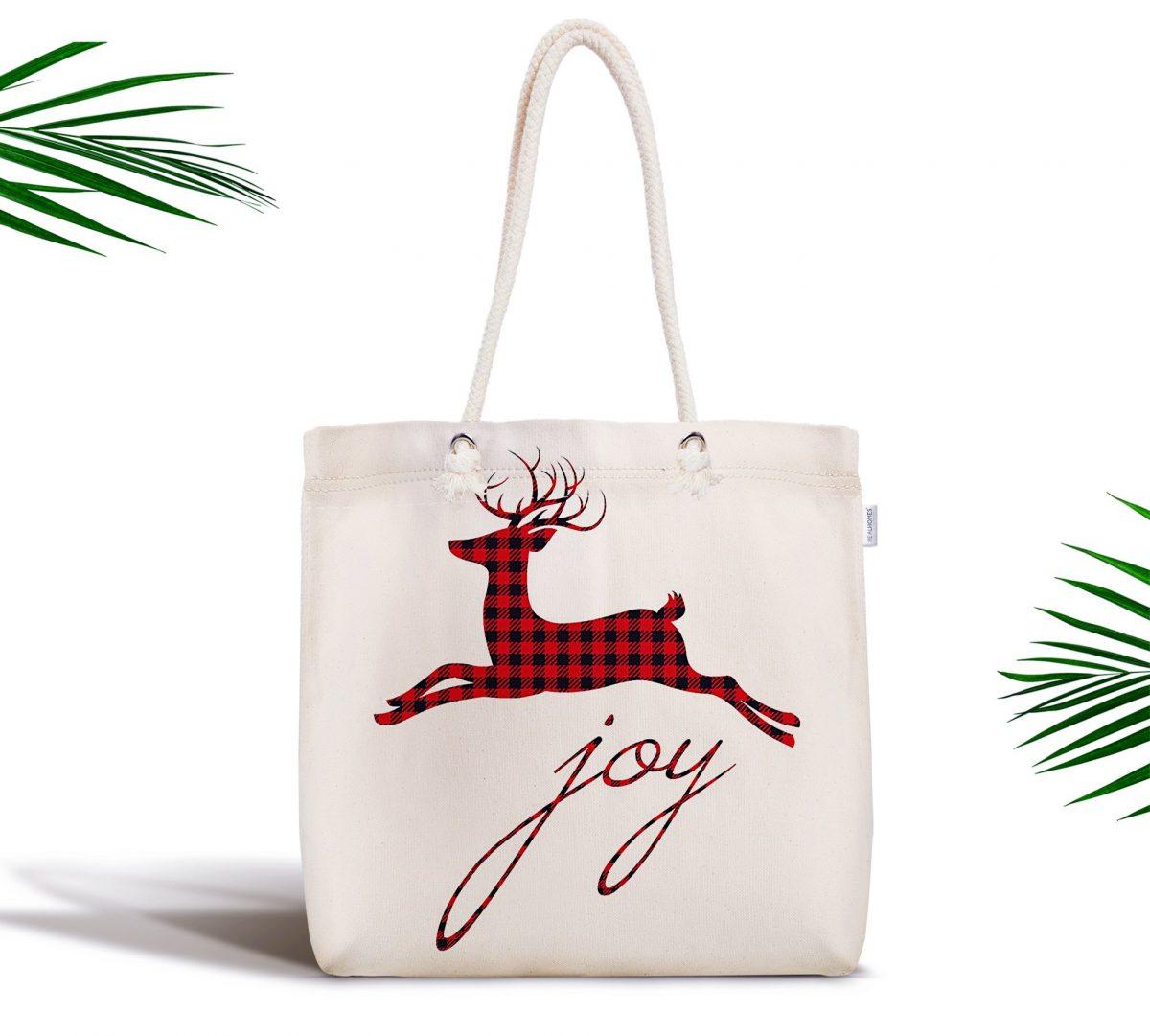 Joy Ekose Geyik Desenli Fermuarlı Modern Kumaş Çanta Realhomes