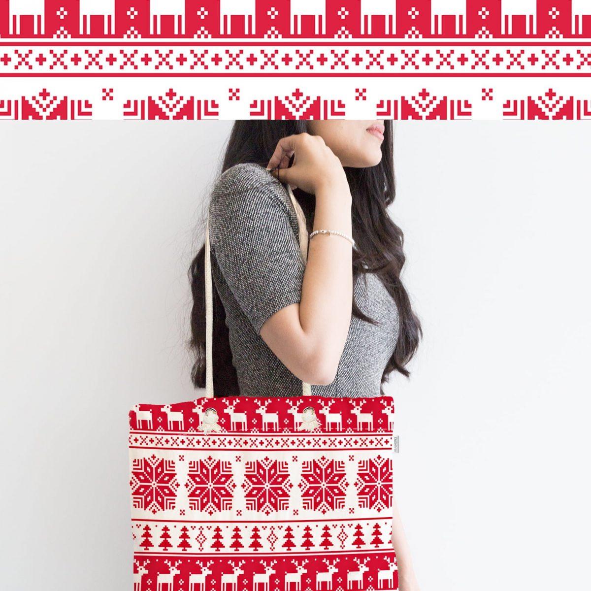 Kırmızı Beyaz Geyikler Özel Tasarım Fermuarlı Bez Çanta Realhomes