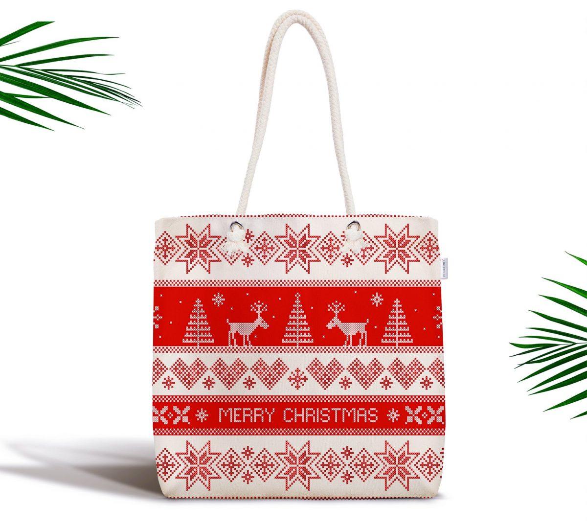 Christmas Özel Tasarım Dijital Baskılı Fermuarlı Bez Çanta Realhomes