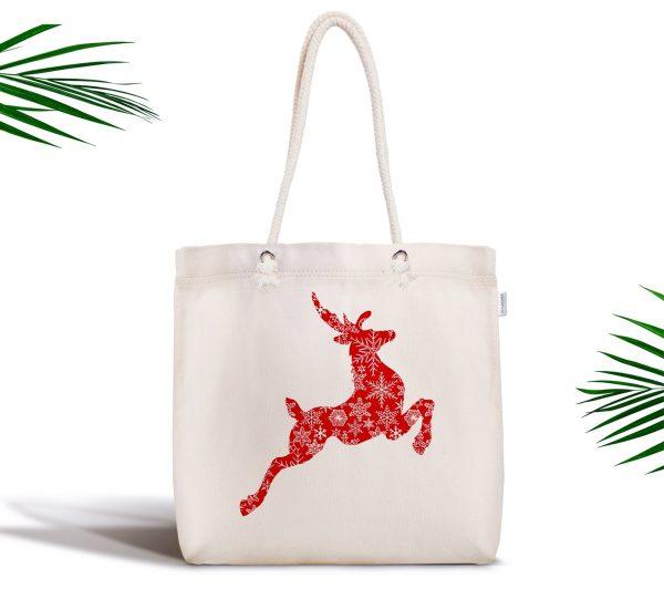 Beyaz Zeminde Kırmızı Geyik Özel Tasarım Dijital Baskılı Kumaş Çanta Realhomes