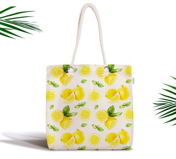 Beyaz Zeminde Limonlar Desenli Dijital Baskılı Fermuarlı Kumaş Çanta Realhomes