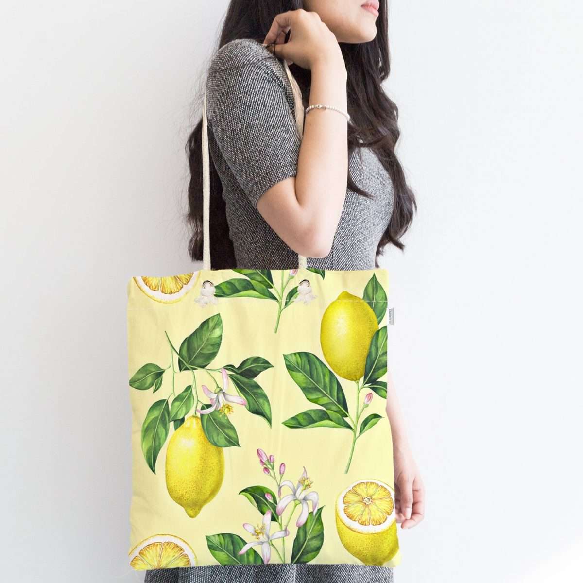Krem Zeminli Limon Desenli Fermuarlı Modern Kumaş Çanta Realhomes