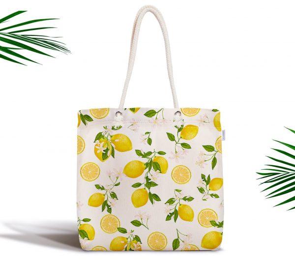 Limon Desenli İlkbahar Renkleri Dijital Baksılı Fermuarlı Kumaş Çanta Realhomes