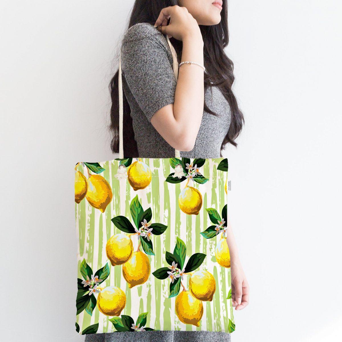 Yeşil Zeminli 3 Boyutlu Limon Desenli Dijital Baskılı Fermuarlı Kumaş Çanta Realhomes