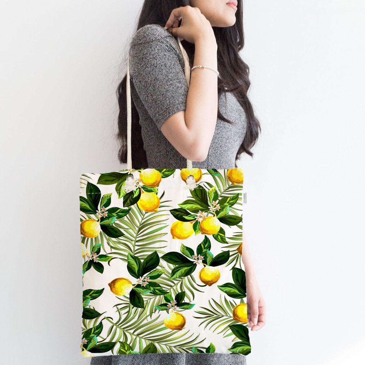 Limon Yaprakları Desenli Dijital Baskılı Fermuarlı Kumaş Çanta Realhomes