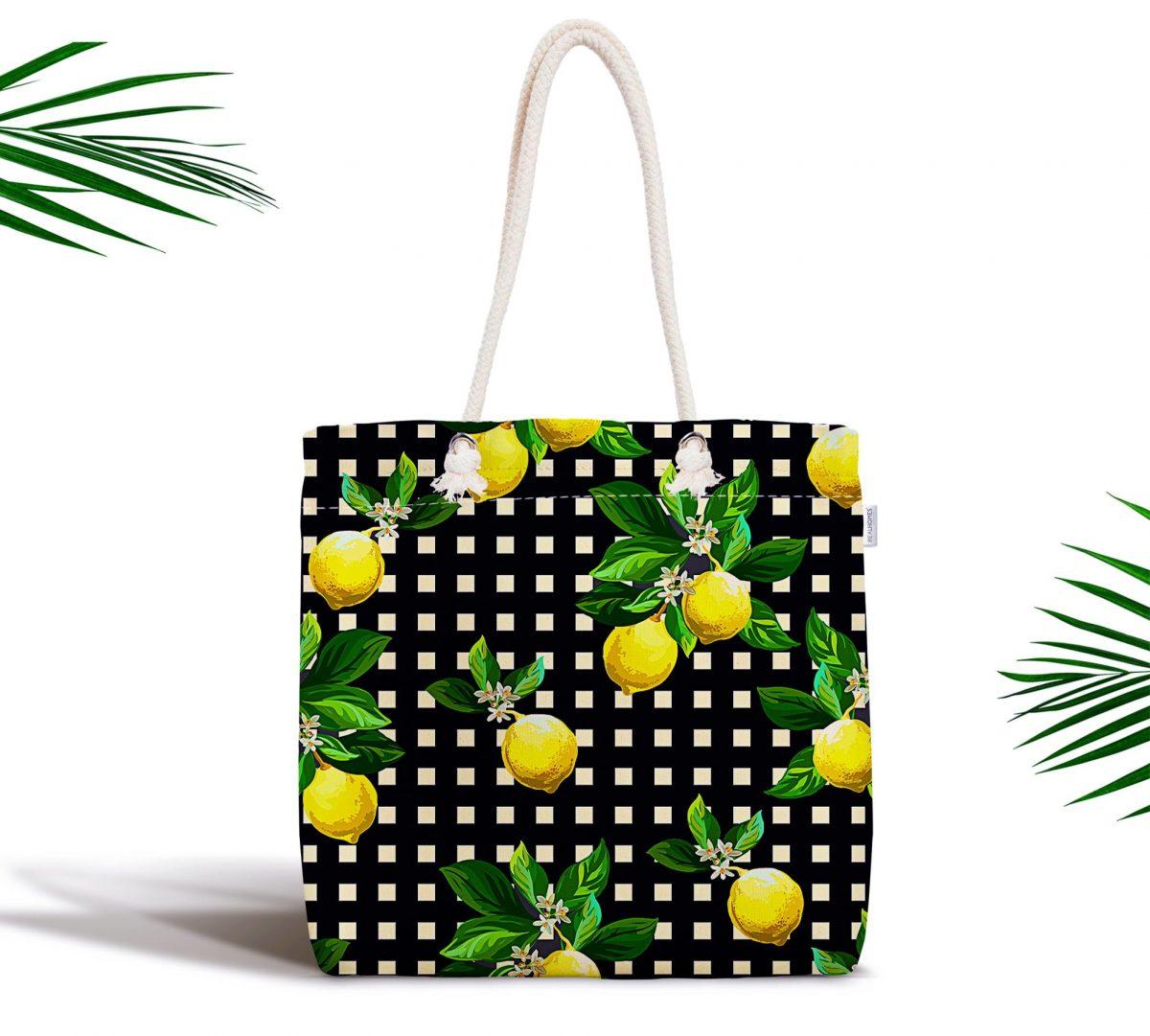 Siyah Zeminde Ekose Desenli Limon Baskılı Fermuarlı Modern Kumaş Çanta Realhomes