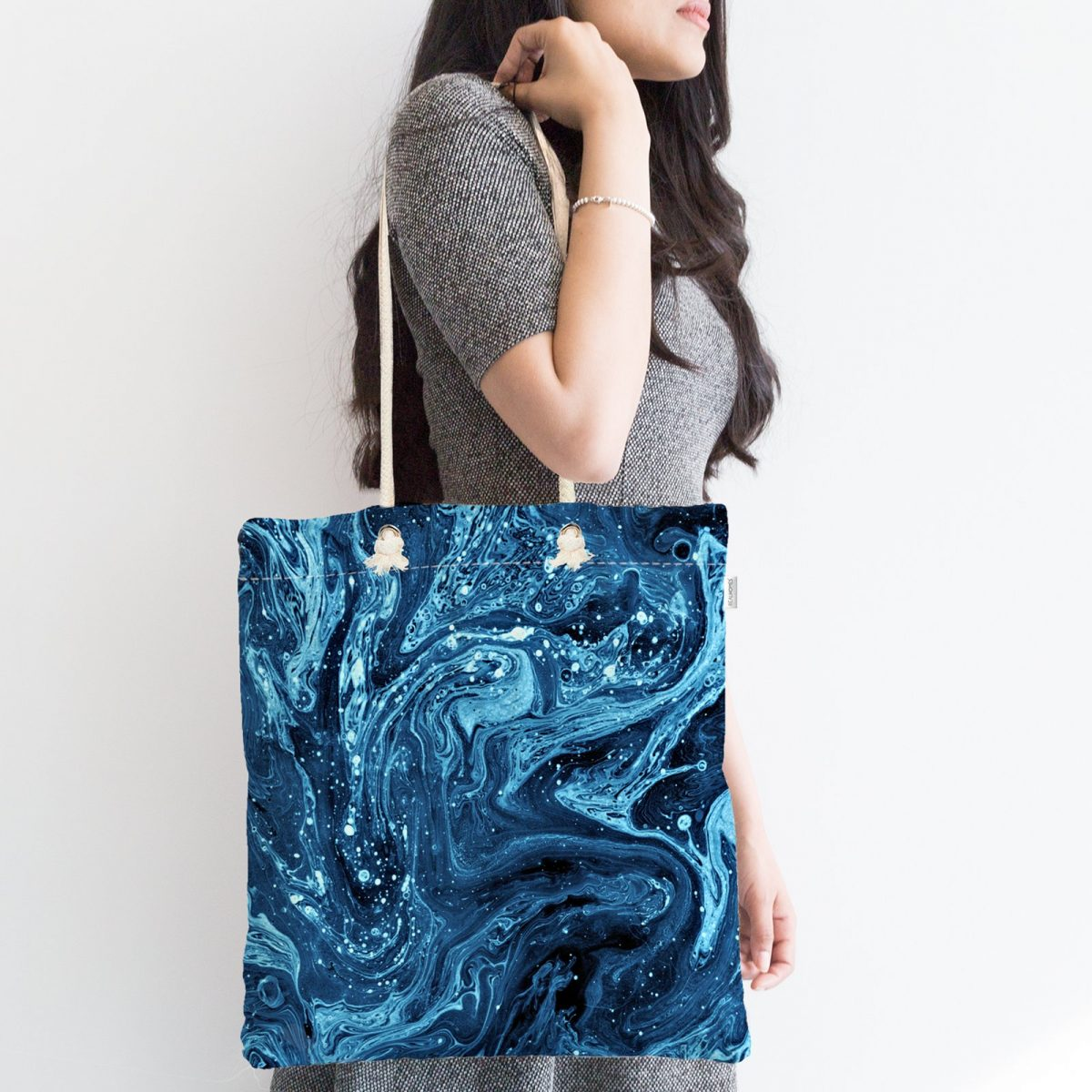 Mavi Ebru Motifleri Dijital Baskılı Fermuarlı Kumaş Çanta Realhomes