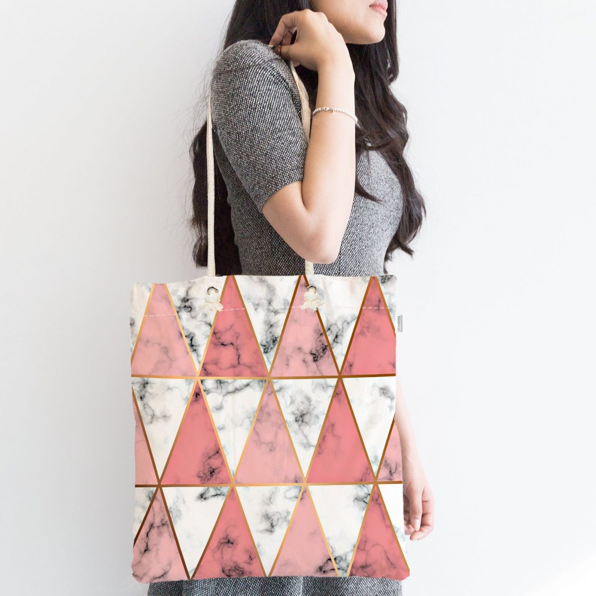 Geometrik Üçgen Şekilli Mermer Desenli Fermuarlı Kumaş Çanta Realhomes