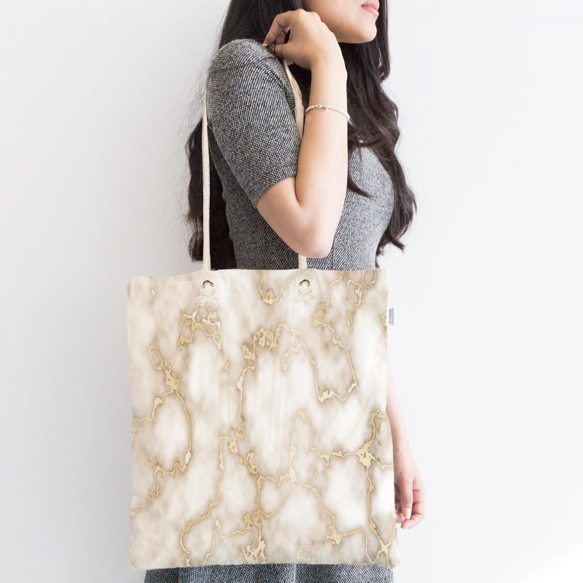 Mermer Zeminli Modern Tasarım Fermuarlı Kumaş Çanta Realhomes