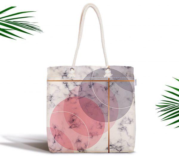 Geometrik Mermer Desenli Dijital Baskılı Fermuarlı Kumaş Çanta Realhomes