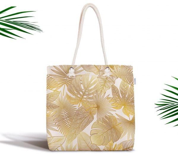Vizon Renk Amazon Yaprakları Temalı Modern Fermuarlı Kumaş Çanta Realhomes