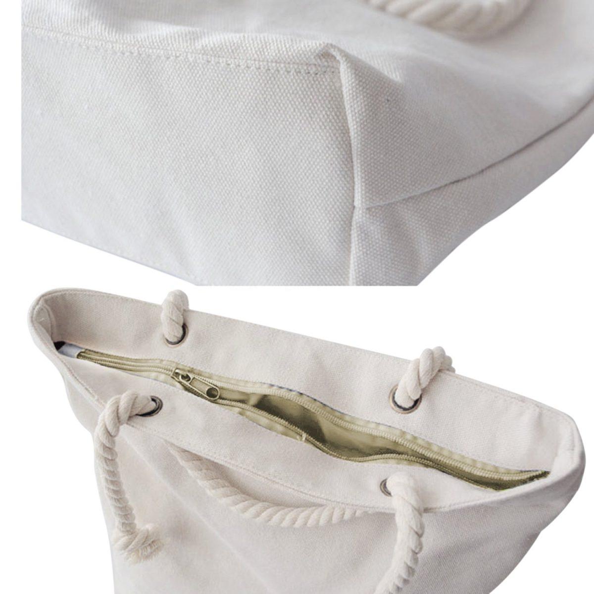 Beyaz Zeminde Vizon Yapraklar Dijital Baskılı Fermuarlı Kumaş Çanta Realhomes