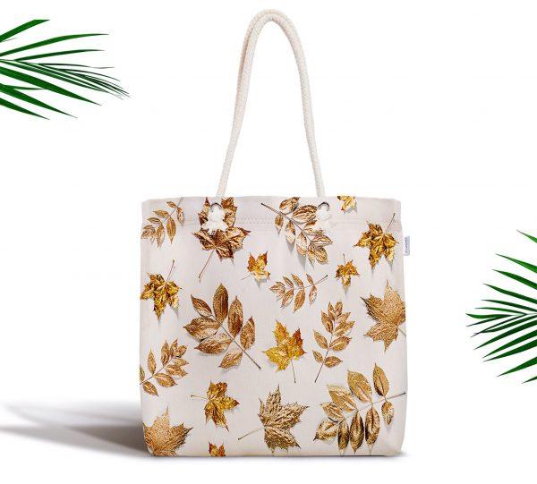 Beyaz Zeminde Altın Yapraklar Desenli Dijital Baskılı Fermuarlı Bez Çanta Realhomes