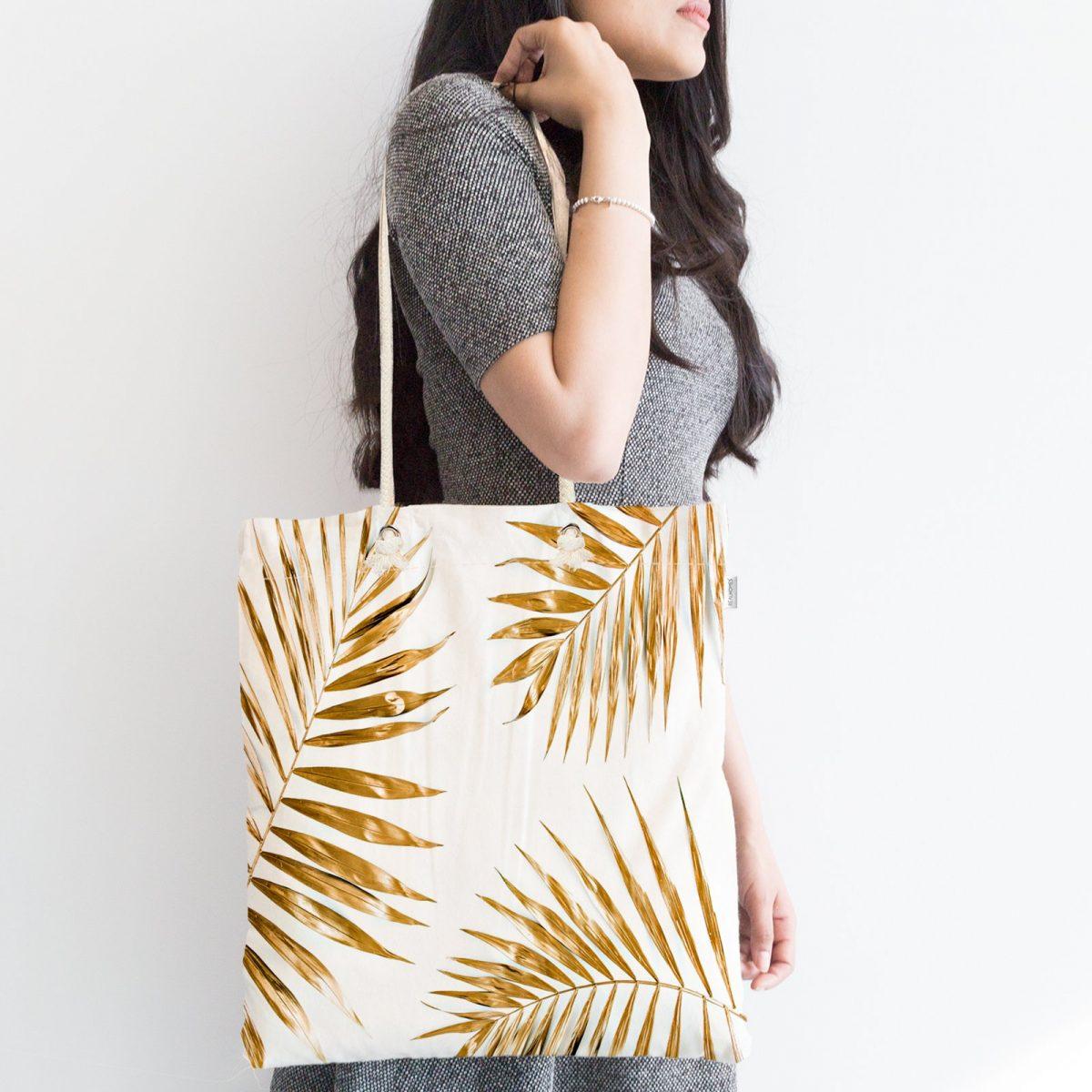 Altın Renkli Palmiye Yaprakları Dijital Baskılı Fermuarlı Kumaş Çanta Realhomes