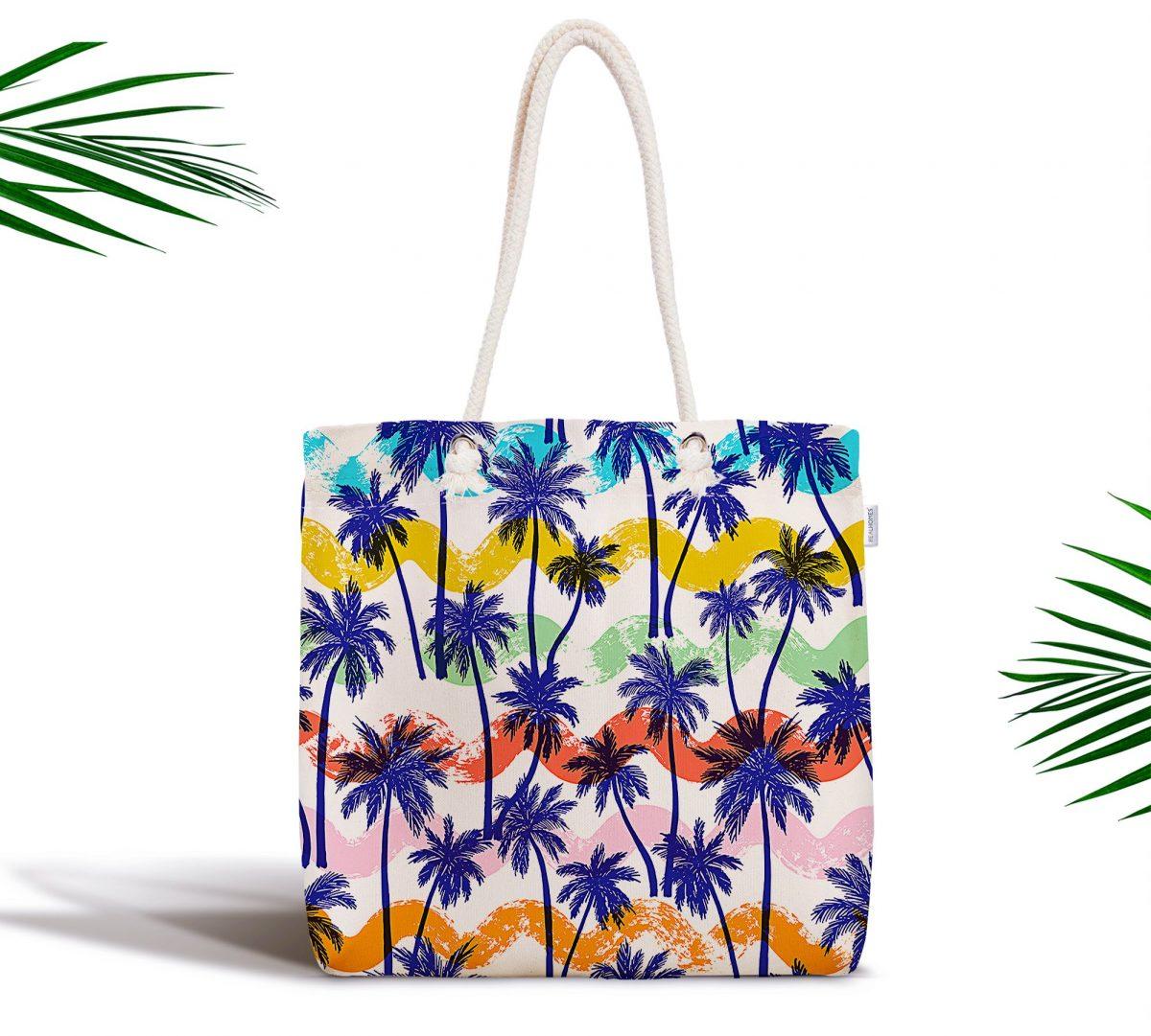 Renkli Palmiyeler Özel Tasarım Fermuarlı Kumaş Çanta Realhomes