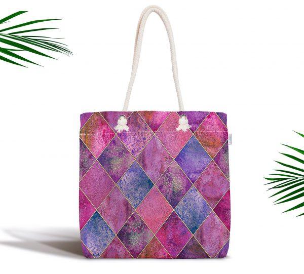 Geometrik Pudra Renkler Modern Tasarımlı Fermuarlı Modern Kumaş Çanta Realhomes