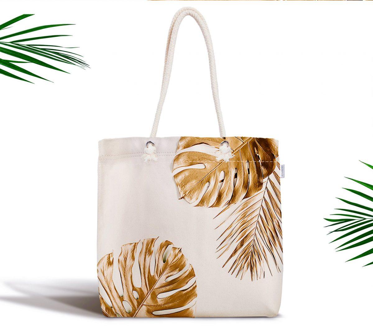 3D Altın Renkli Palmiye Yaprakları Desenli Fermuarlı Modern Kumaş Çanta Realhomes