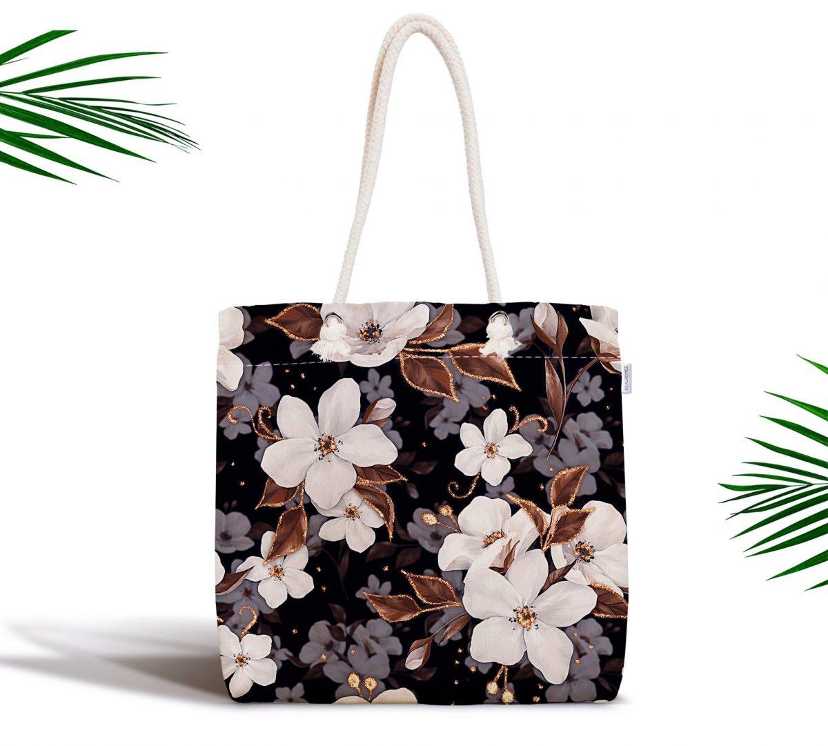Siyah Zeminde 3D Çiçekler Temalı Modern Fermuarlı Kumaş Çanta Realhomes