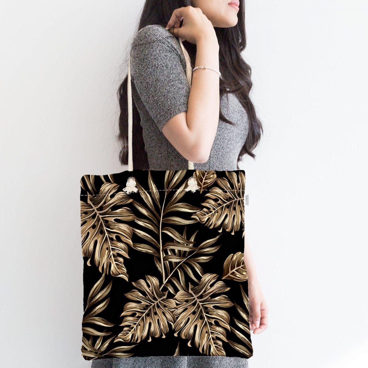 Siyah Zeminde Altın Renkli Yapraklar Desenli Fermuarlı Kumaş Çanta Realhomes