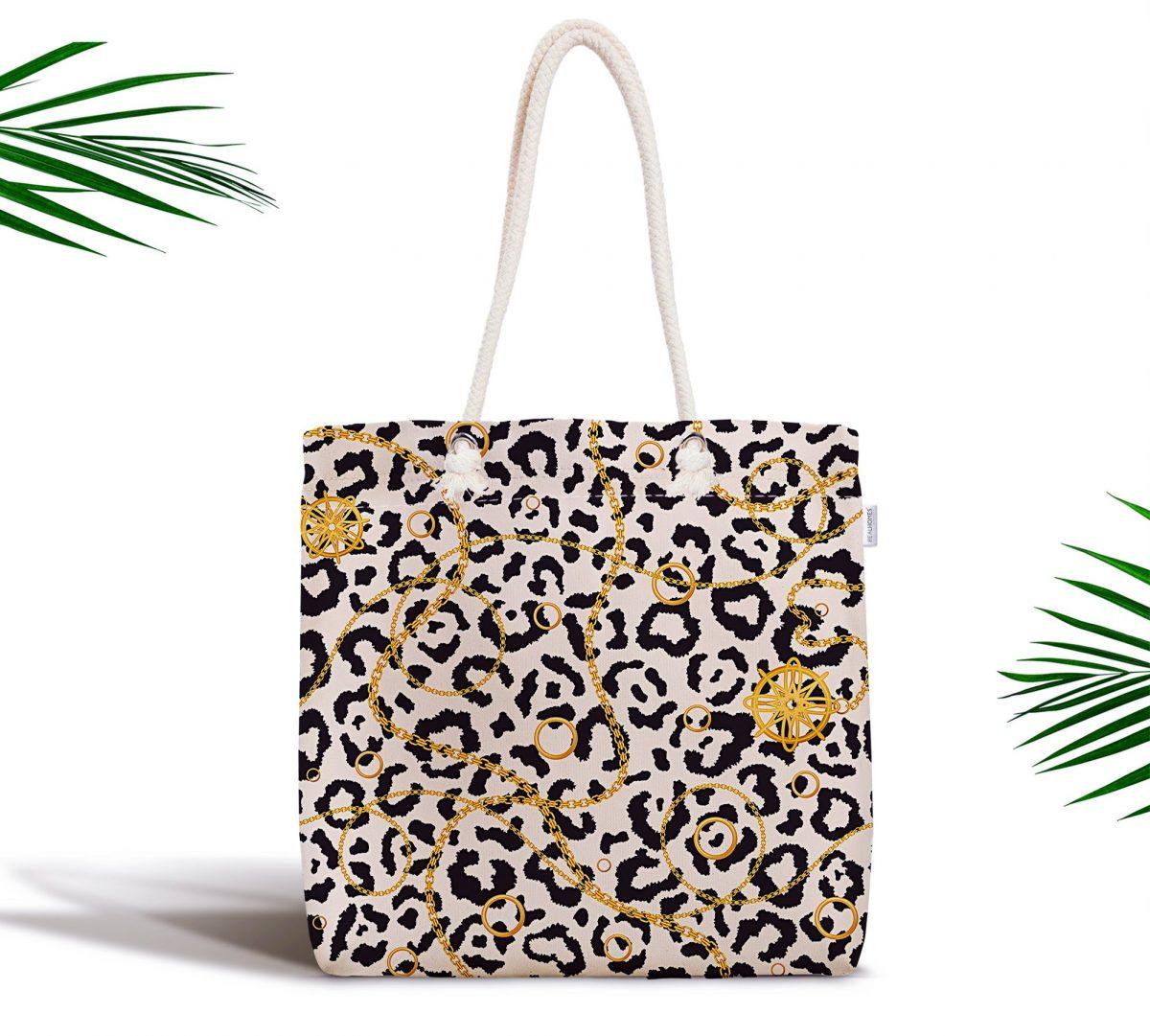 Zebra Desenli Altın Detaylı Modern Fermuarlı Kumaş Çanta Realhomes