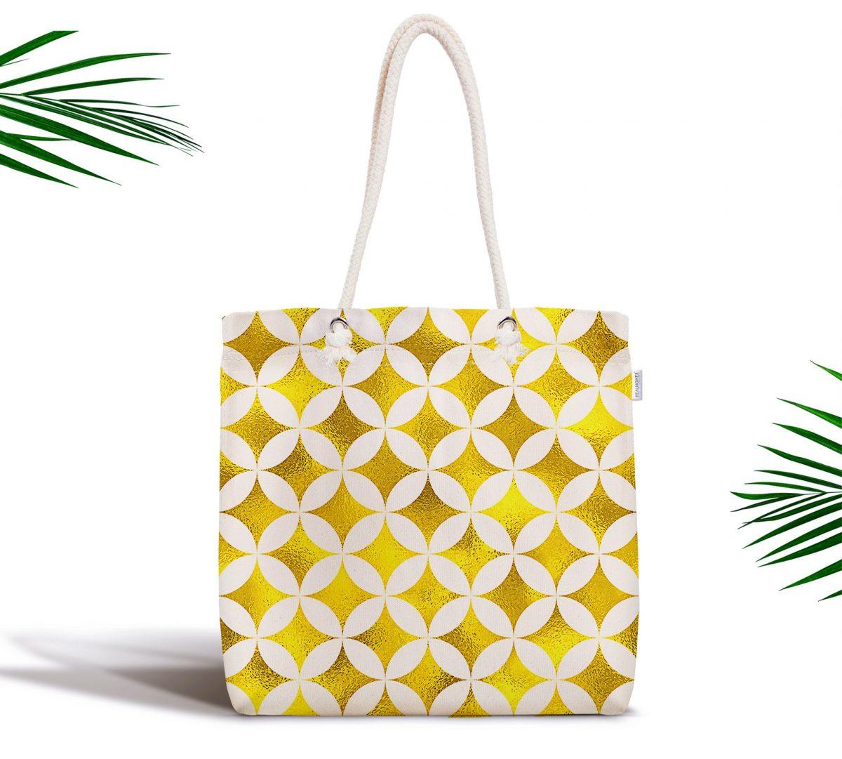 Geometrik Altın Renkte Desenler Modern Fermuarlı Kumaş Çanta Realhomes