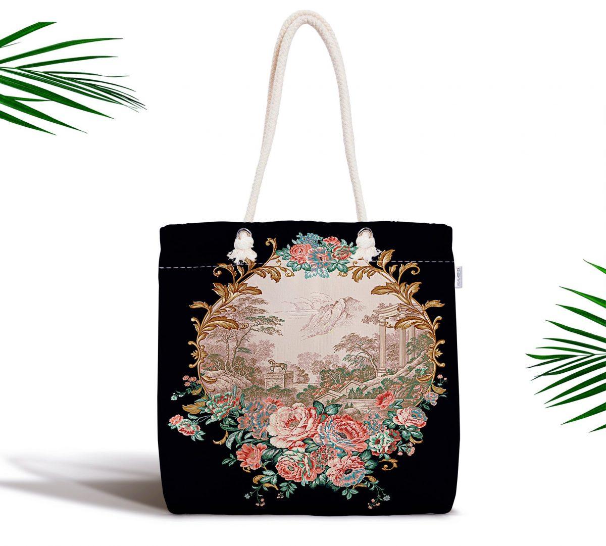 Siyah Zeminde Çiçek Bahçesi Exclusive Modern Tasarımlı Kumaş Çanta Realhomes