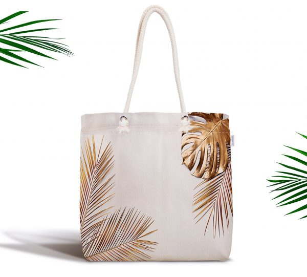 Altın Renkli 3D Palmiye Yaprakları Modern Fermuarlı Kumaş Çanta Realhomes
