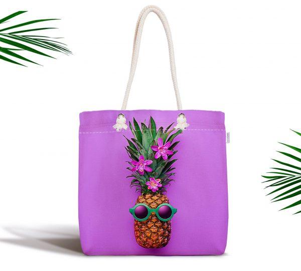 Mor Zeminde Ananas Desenli Modern Fermuarlı Kumaş Çanta Realhomes