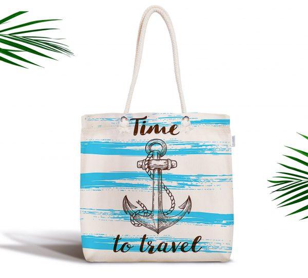 Time to Travel Denizci Desenli Modern Fermuarlı Kumaş Çanta Realhomes