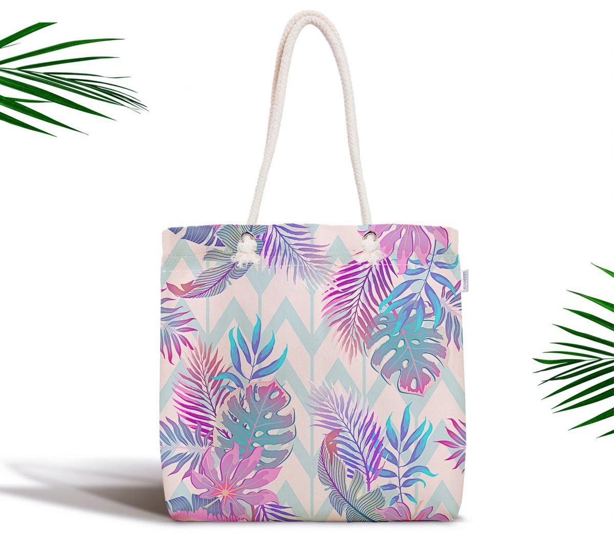 Pudra Zeminli Geometrik Palmiye Yaprakları Modern Fermuarlı Kumaş Çanta Realhomes