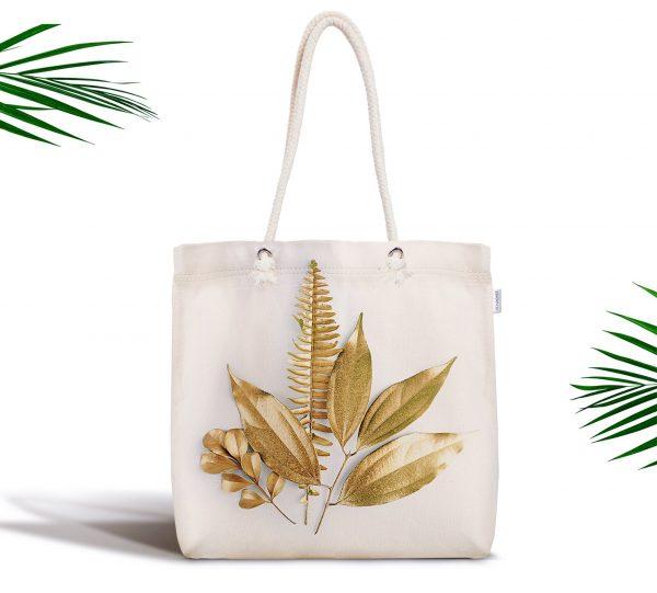 3D Altın Görünümlü Yapraklar Desenli Modern Fermuarlı Kumaş Çanta Realhomes