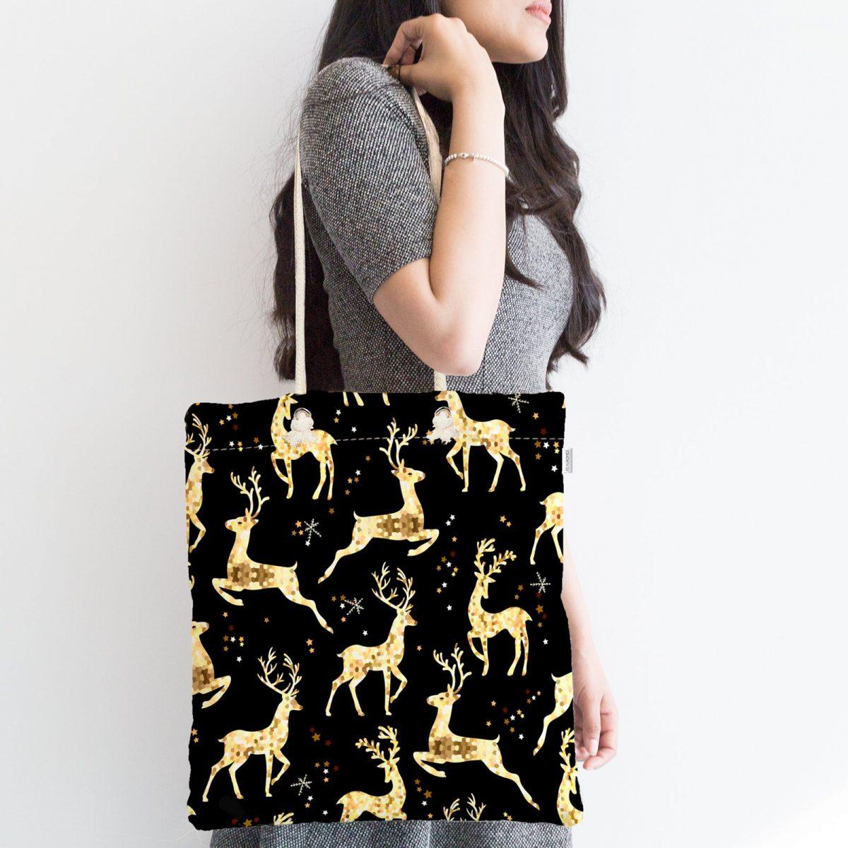 Altın Detaylı Geyikler Desenli Modern Fermuarlı Kumaş Çanta Realhomes