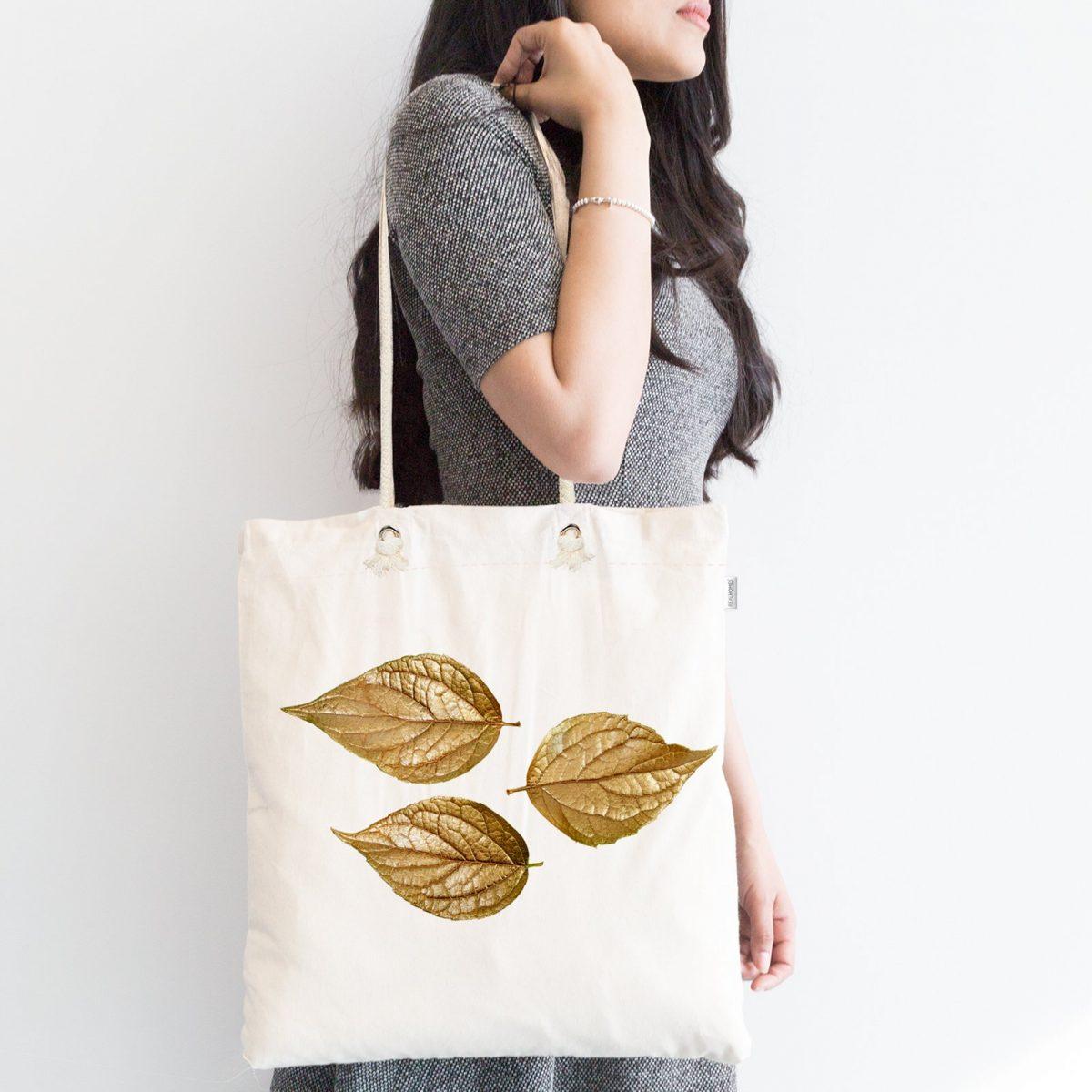 3D Altın Yapraklar Özel Tasarımlı Modern Fermuarlı Kumaş Çanta Realhomes