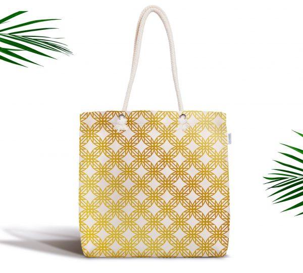 Geometrik Sanat Altın Detaylı Özel Tasarım Modern Fermuarlı Kumaş Çanta Realhomes