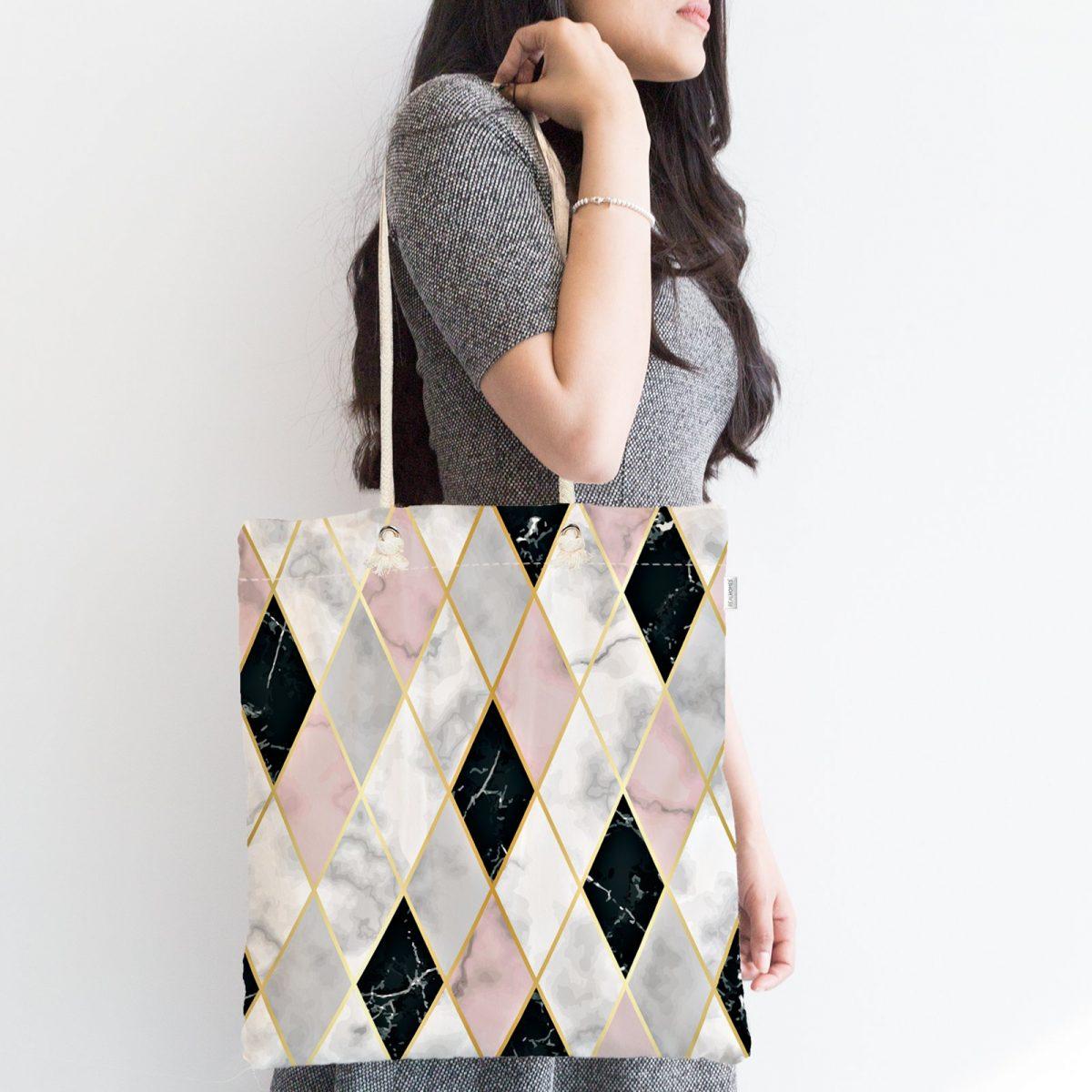 Mermer Zeminli Baklava Desenli Özel Tasarım Fermuarlı Kumaş Çanta Realhomes