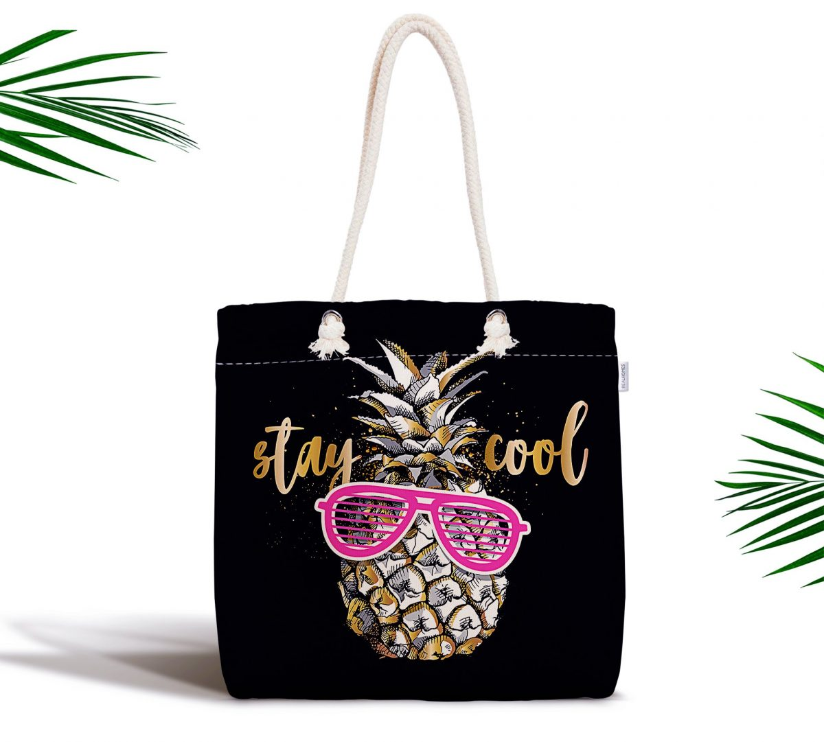 Siyah Zeminde Cool Ananas Desenli Modern Fermuarlı Kumaş Çanta Realhomes
