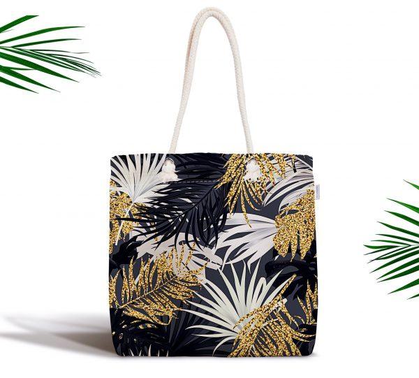 Siyah Zeminde Palmiye Yaprakları Özel Tasarım Fermuarlı Kumaş Çanta Realhomes