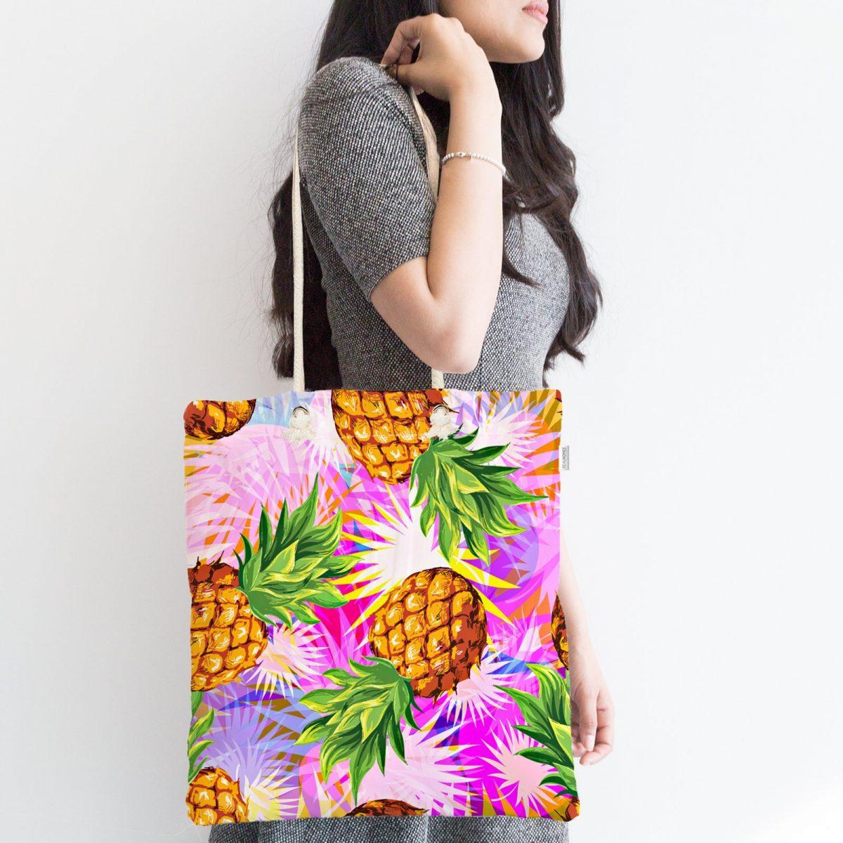 Pembe Zeminde Ananaslar Özel Tasarımlı Modern Fermuarlı Kumaş Çanta Realhomes